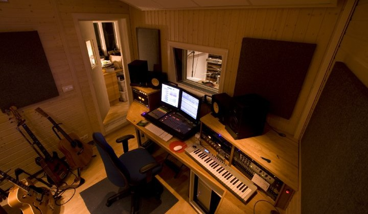 Control Room in a Home Recording Studio