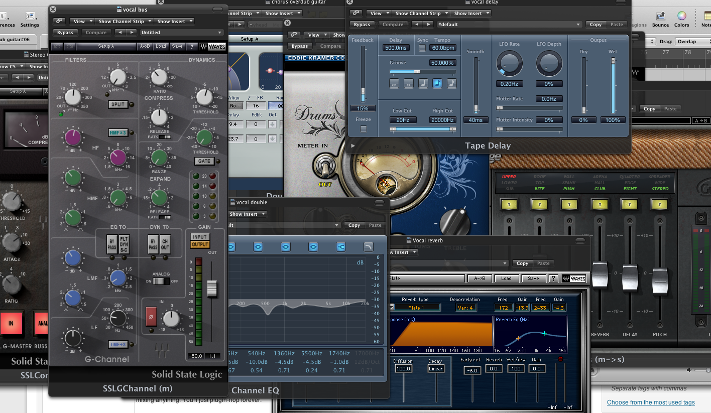 too many audio plugins, gain staging