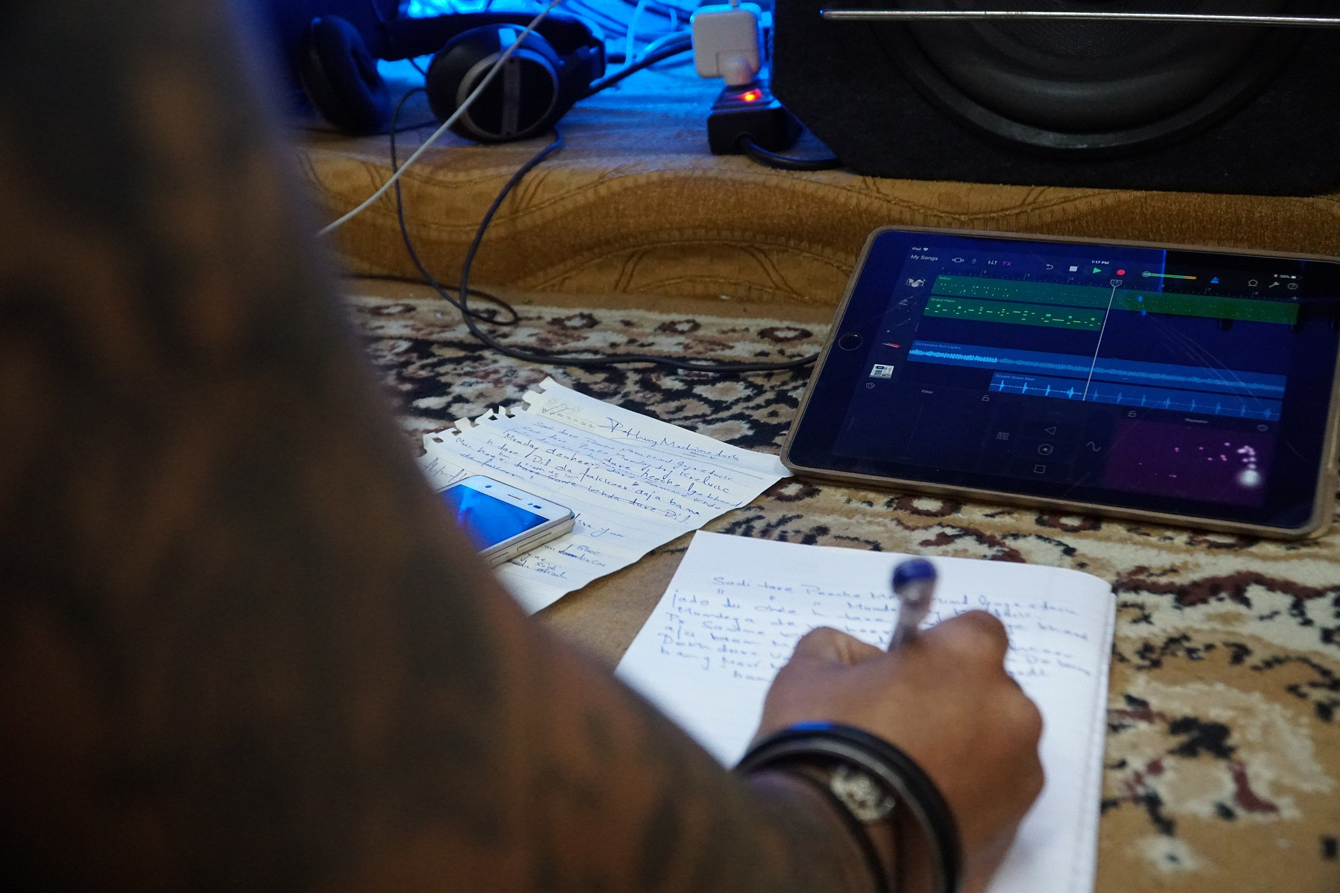 songwriter writing a song