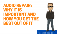 Image of cartoon Norbert with the text Audio repair - why it is important and how you get the best out of it