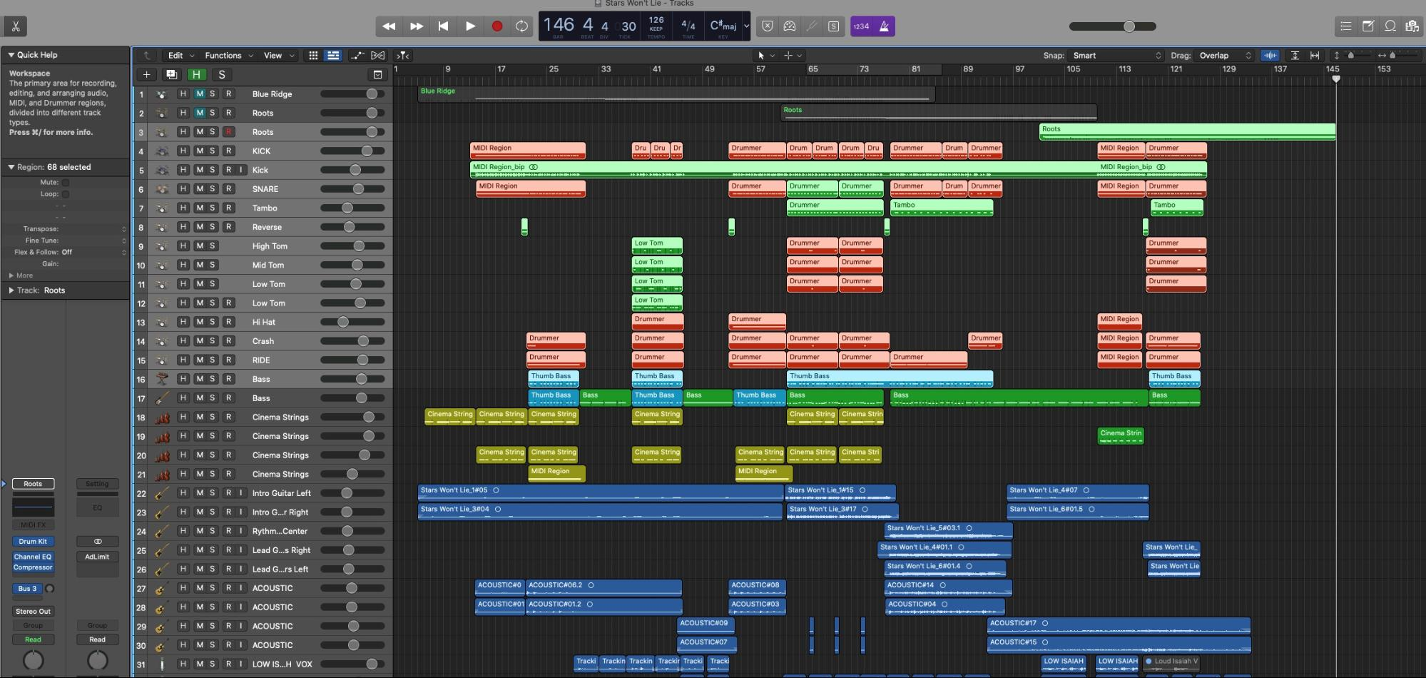 logic pro interface with recording