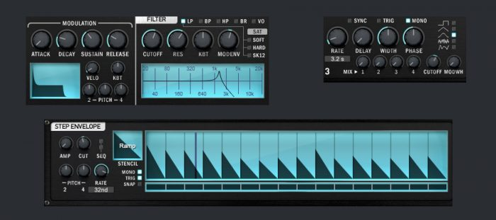 Synthesizer parameters - LFO and mod env and step filter to cutoff